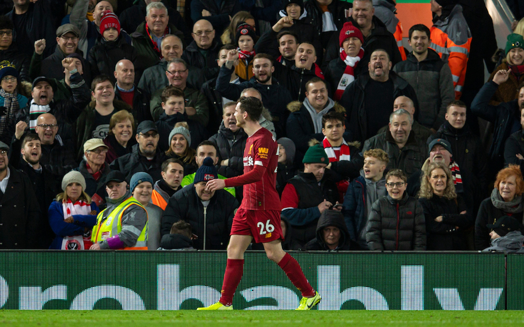 """LIVERPOOL, ENGLAND - Thursday, January 2, 2020: Liverpool's Scotland international Andy Robertson walks past Sheffield United supporters chanting """"England"""" as he is forced to walk around the pitch after being substituted due to new rules during the FA Premier League match between Liverpool FC and Sheffield United FC at Anfield. (Pic by David Rawcliffe/Propaganda)"""