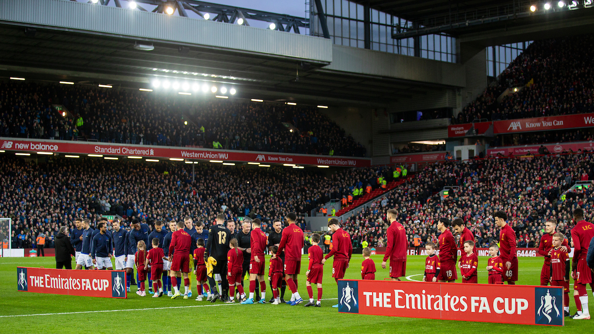 LIVERPOOL, ENGLAND - Sunday, January 5, 2020: Liverpool and Everton players shake hands before the FA Cup 3rd Round match between Liverpool FC and Everton FC, the 235th Merseyside Derby, at Anfield. (Pic by David Rawcliffe/Propaganda)