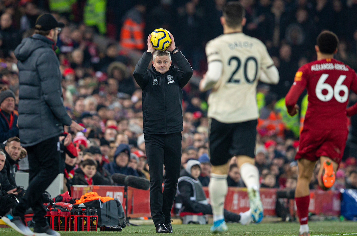 LIVERPOOL, ENGLAND - Sunday, January 19, 2020: Manchester United's manager Ole Gunnar Solskjær with the ball during the FA Premier League match between Liverpool FC and Manchester United FC at Anfield. (Pic by David Rawcliffe/Propaganda)