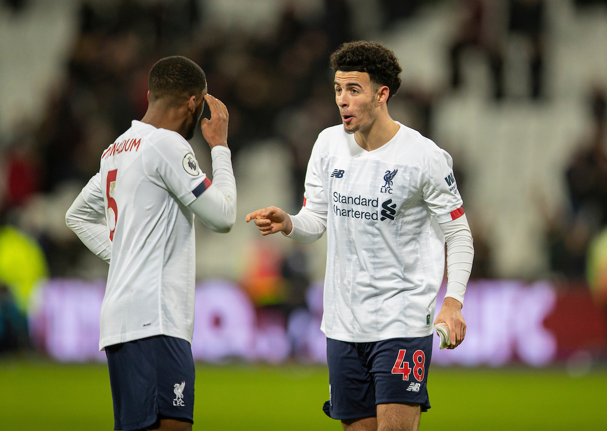 LONDON, ENGLAND - Wednesday, January 29, 2020: Liverpool's Curtis Jones (R) and Georginio Wijnaldum after the FA Premier League match between West Ham United FC and Liverpool FC at the London Stadium. Liverpool won 2-0.  (Pic by David Rawcliffe/Propaganda)