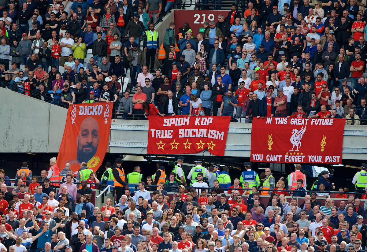 "LONDON, ENGLAND - Sunday, May 14, 2017: Liverpool supporters banners ""Spion Kop True Socialism"" during the FA Premier League match against West Ham United at the London Stadium. (Pic by David Rawcliffe/Propaganda)"