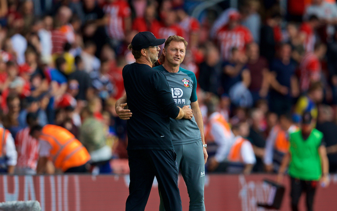 LIVERPOOL, ENGLAND - Saturday, August 17, 2019: Liverpool's manager Jürgen Klopp shakes hands with Southampton's manager Ralph Hasenhüttl at the final whistle after the FA Premier League match between Southampton FC and Liverpool FC at St. Mary's Stadium. (Pic by David Rawcliffe/Propaganda)