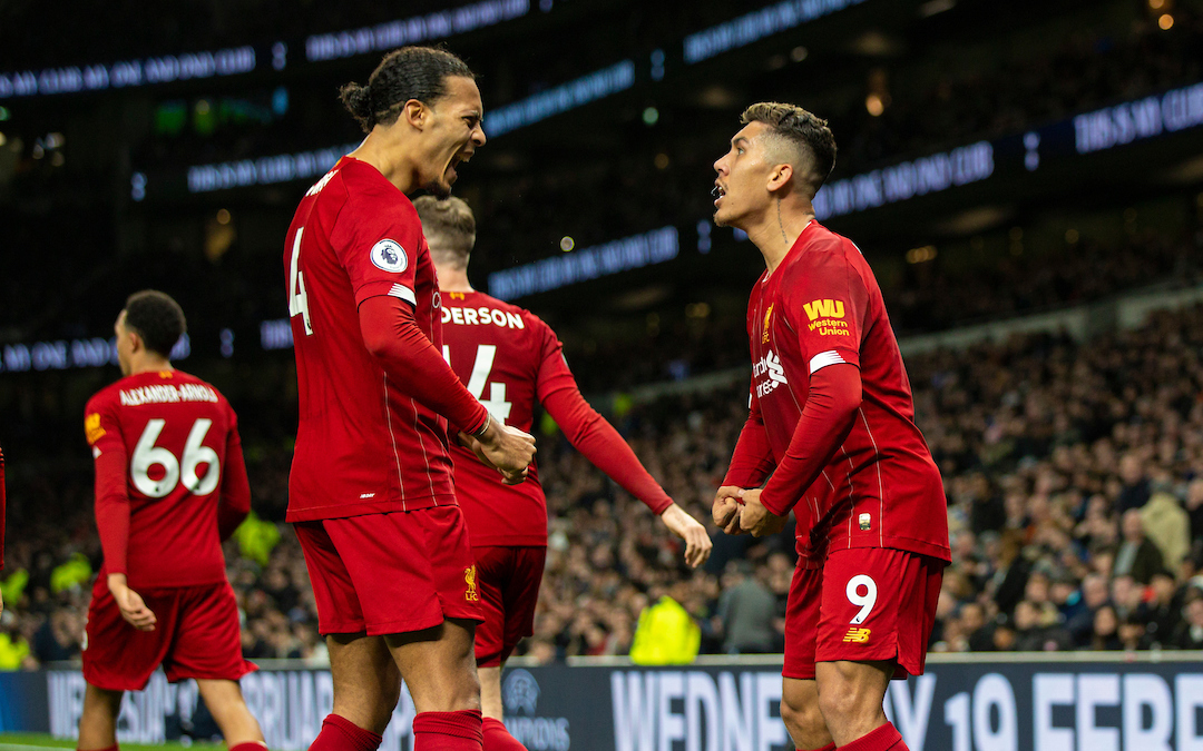 LONDON, ENGLAND - Saturday, January 11, 2020: Liverpool's Roberto Firmino  celebrates after scoring the first goal during the FA Premier League match between Tottenham Hotspur FC and Liverpool FC at the Tottenham Hotspur Stadium. (Pic by David Rawcliffe/Propaganda)