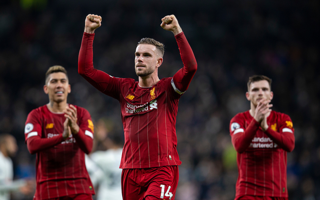 LONDON, ENGLAND - Saturday, January 11, 2020: Liverpool's captain Jordan Henderson celebrates after the FA Premier League match between Tottenham Hotspur FC and Liverpool FC at the Tottenham Hotspur Stadium. Liverpool won 1-0. (Pic by David Rawcliffe/Propaganda)