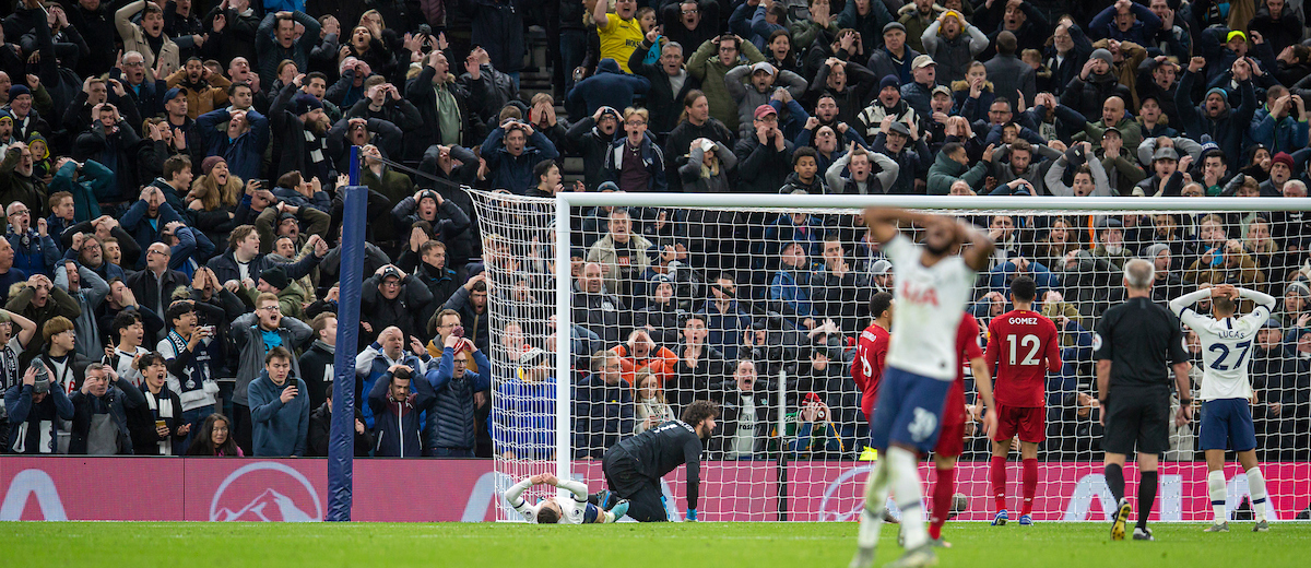 LONDON, ENGLAND - Saturday, January 11, 2020: Tottenham Hotspur supporters react as they see their team miss a chance  during the FA Premier League match between Tottenham Hotspur FC and Liverpool FC at the Tottenham Hotspur Stadium. (Pic by David Rawcliffe/Propaganda)