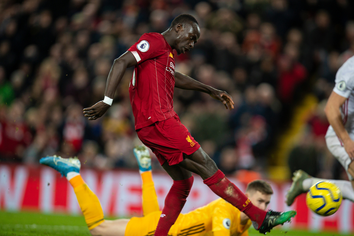 LIVERPOOL, ENGLAND - Thursday, January 2, 2020: Liverpool's Sadio Mané scores the second goal during the FA Premier League match between Liverpool FC and Sheffield United FC at Anfield. (Pic by David Rawcliffe/Propaganda)
