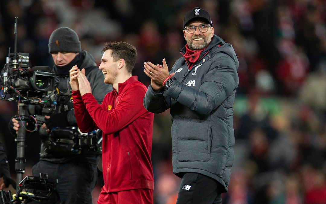 LIVERPOOL, ENGLAND - Thursday, January 2, 2020: Liverpool's manager Jürgen Klopp (R) and Andy Robertson celebrate after the FA Premier League match between Liverpool FC and Sheffield United FC at Anfield. Liverpool won 2-0. (Pic by David Rawcliffe/Propaganda)