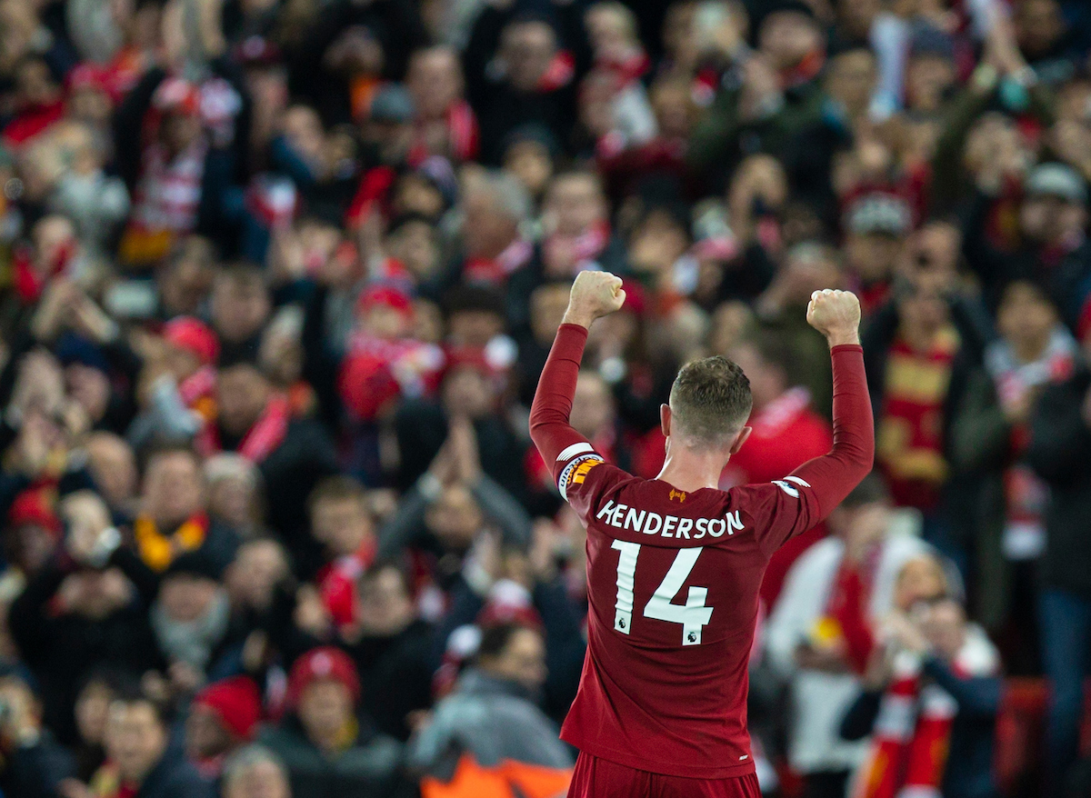 LIVERPOOL, ENGLAND - Thursday, January 2, 2020: Liverpool's captain Jordan Henderson celebrates after the FA Premier League match between Liverpool FC and Sheffield United FC at Anfield. Liverpool won 2-0. (Pic by David Rawcliffe/Propaganda)
