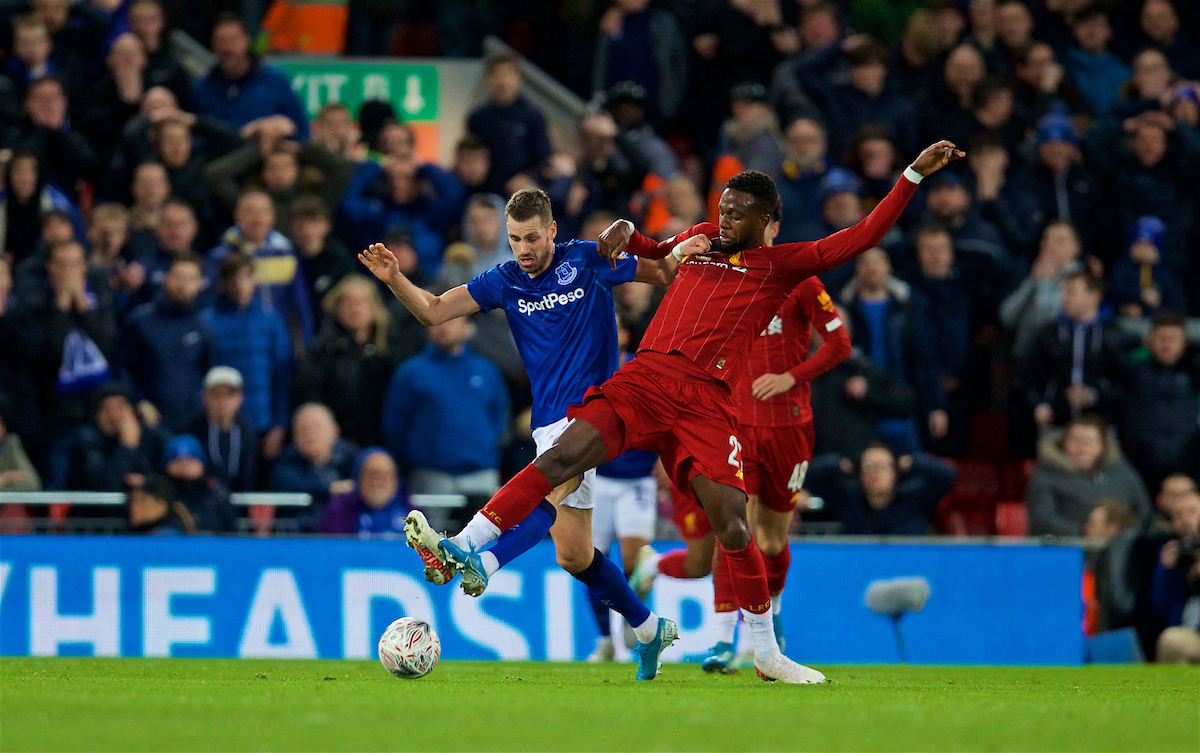 LIVERPOOL, ENGLAND - Sunday, January 5, 2020: Liverpool's Divock Origi during the FA Cup 3rd Round match between Liverpool FC and Everton FC, the 235th Merseyside Derby, at Anfield. (Pic by David Rawcliffe/Propaganda)