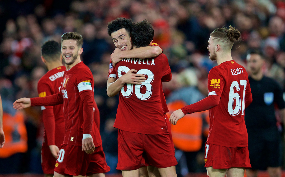 LIVERPOOL, ENGLAND - Sunday, January 5, 2020: Liverpool's Curtis Jones celebrates scoring the first goal with team-mate Pedro Chirivella during the FA Cup 3rd Round match between Liverpool FC and Everton FC, the 235th Merseyside Derby, at Anfield. (Pic by David Rawcliffe/Propaganda)