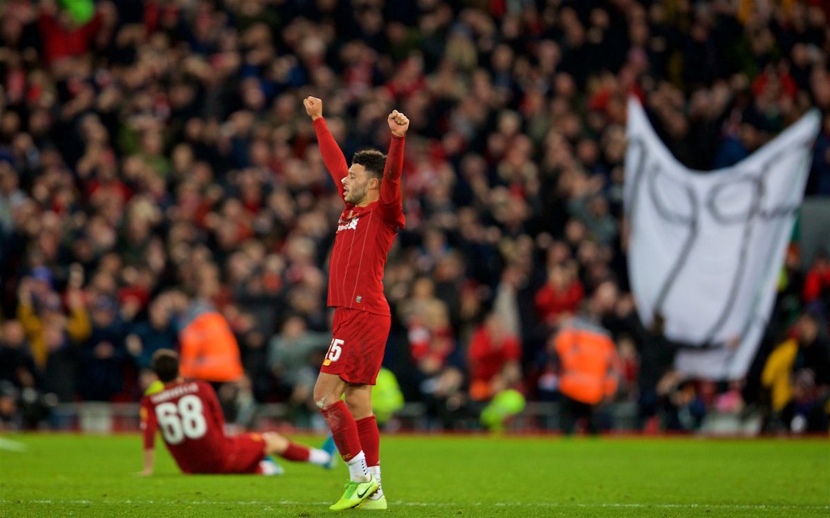 LIVERPOOL, ENGLAND - Sunday, January 5, 2020: Liverpool's Alex Oxlade-Chamberlain celebrates at the final whistle after beating Everton 1-0 during the FA Cup 3rd Round match between Liverpool FC and Everton FC, the 235th Merseyside Derby, at Anfield. (Pic by David Rawcliffe/Propaganda)