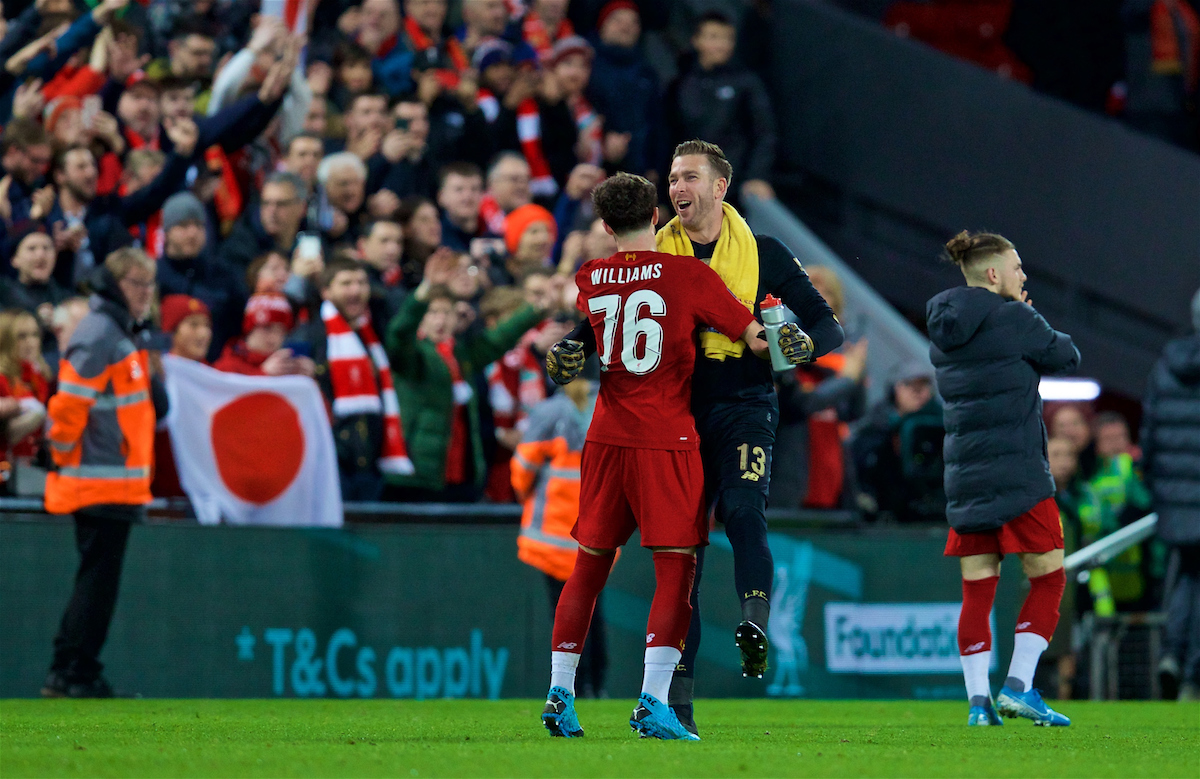LIVERPOOL, ENGLAND - Sunday, January 5, 2020: Liverpool's goalkeeper Adrián San Miguel del Castillo (R) celebrates with Neco Williams at the final whistle during the FA Cup 3rd Round match between Liverpool FC and Everton FC, the 235th Merseyside Derby, at Anfield. Liverpool won 1-0. (Pic by David Rawcliffe/Propaganda)