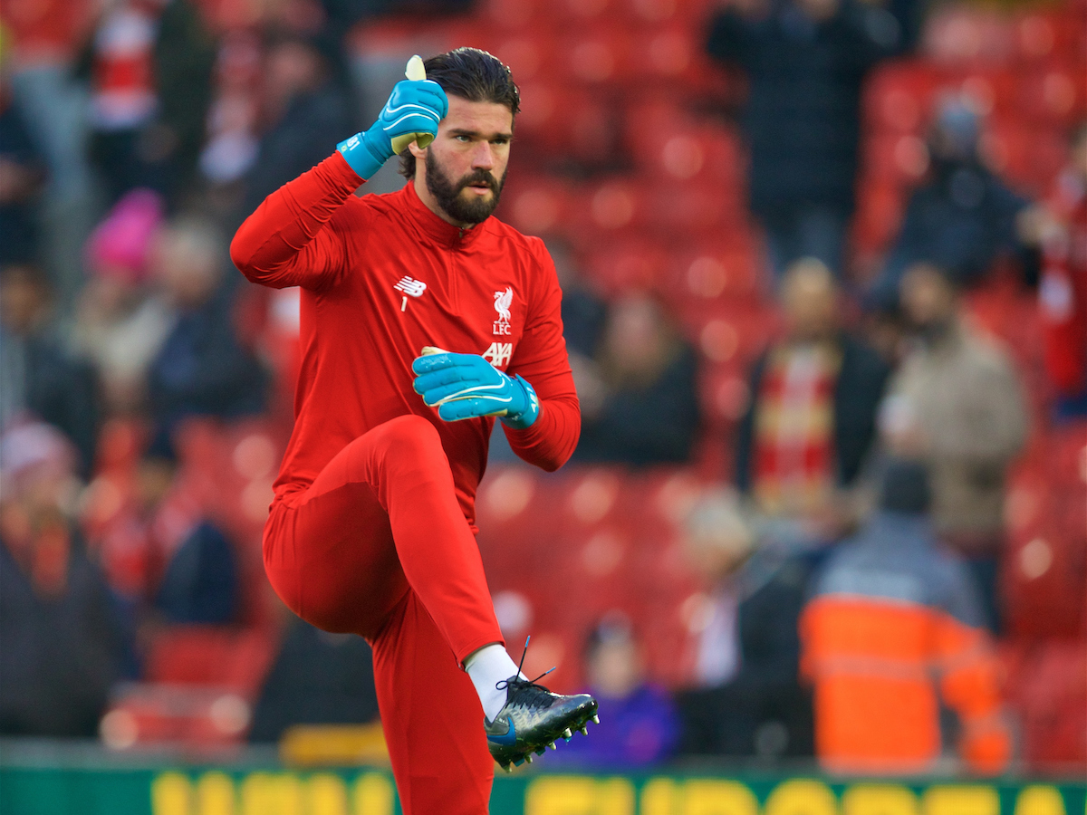 LIVERPOOL, ENGLAND - Sunday, January 19, 2020: Liverpool's goalkeeper Alisson Becker during the pre-match warm-up before the FA Premier League match between Liverpool FC and Manchester United FC at Anfield. (Pic by David Rawcliffe/Propaganda)