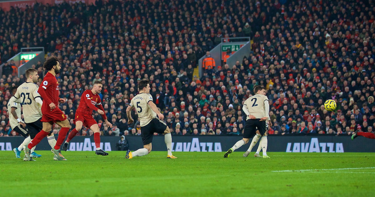 LIVERPOOL, ENGLAND - Sunday, January 19, 2020: Liverpool's captain Jordan Henderson hits the post during the FA Premier League match between Liverpool FC and Manchester United FC at Anfield. (Pic by David Rawcliffe/Propaganda)