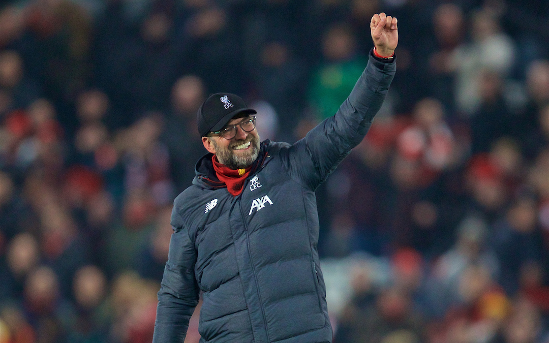LIVERPOOL, ENGLAND - Sunday, January 19, 2020: Liverpool's manager Jürgen Klopp celebrates after the FA Premier League match between Liverpool FC and Manchester United FC at Anfield. Liverpool won 2-0. (Pic by David Rawcliffe/Propaganda)