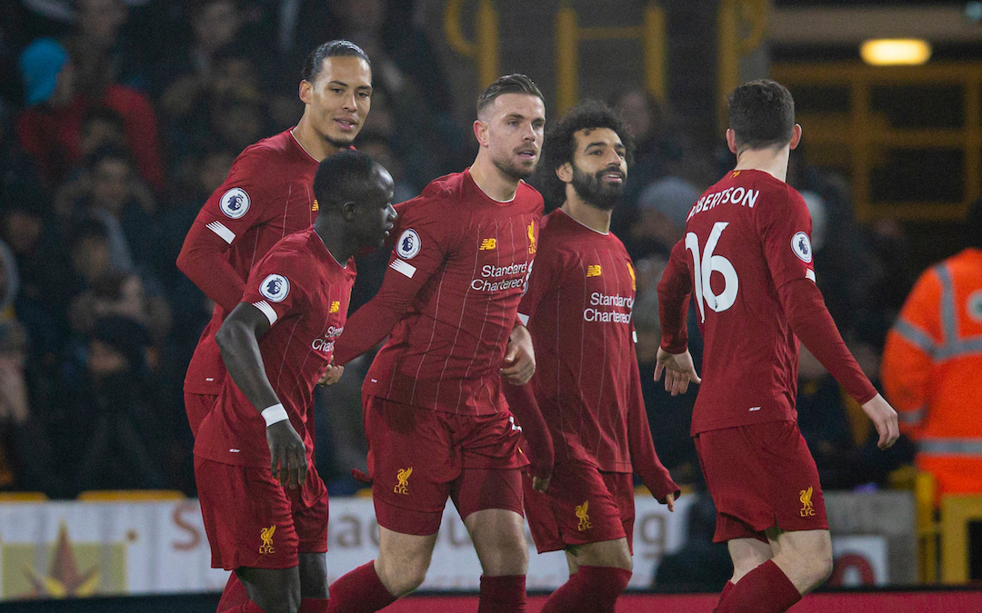 WOLVERHAMPTON, ENGLAND - Thursday, January 23, 2020: Liverpool's captain Jordan Henderson celebrates scoring the first goal during the FA Premier League match between Wolverhampton Wanderers FC and Liverpool FC at Molineux Stadium. (Pic by David Rawcliffe/Propaganda)