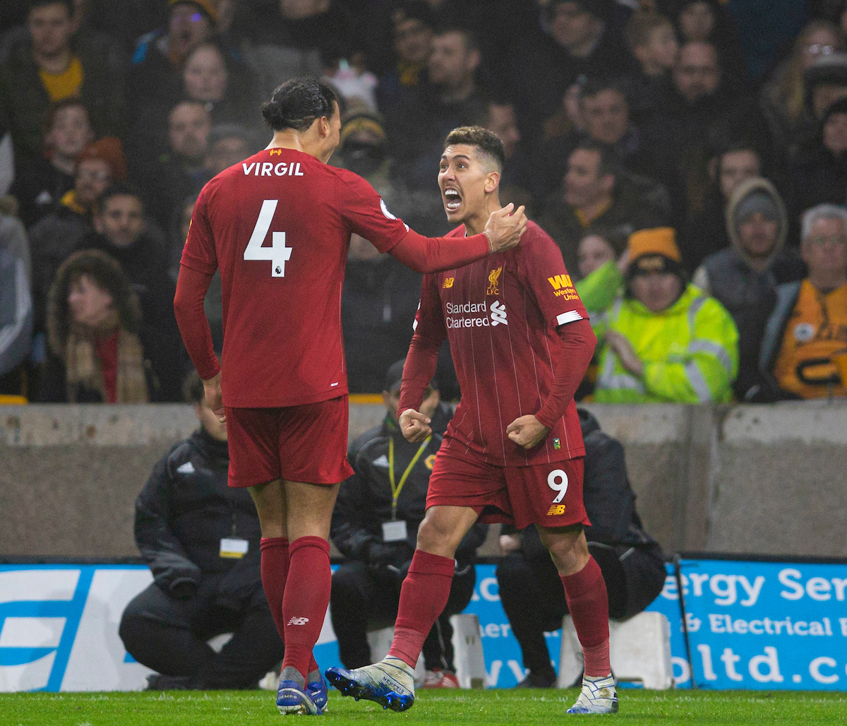 WOLVERHAMPTON, ENGLAND - Thursday, January 23, 2020: Liverpool's Roberto Firmino (R) celebrates scoring the second goal with team-mate Virgil van Dijk during the FA Premier League match between Wolverhampton Wanderers FC and Liverpool FC at Molineux Stadium. (Pic by David Rawcliffe/Propaganda)