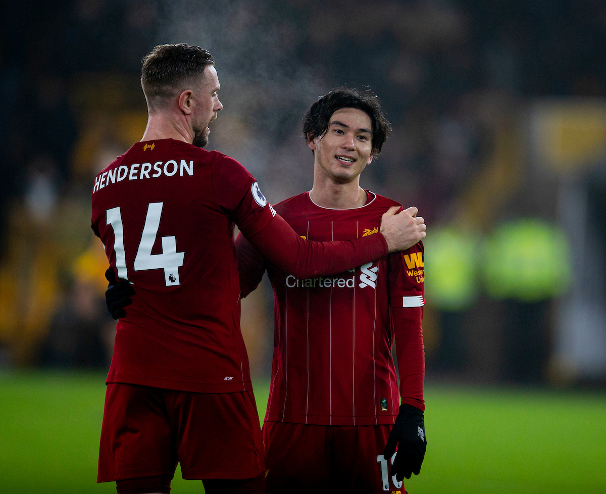 WOLVERHAMPTON, ENGLAND - Thursday, January 23, 2020: Liverpool's Takumi Minamino (R) celebrates with captain Jordan Henderson after the FA Premier League match between Wolverhampton Wanderers FC and Liverpool FC at Molineux Stadium. Liverpool wom 2-1. (Pic by David Rawcliffe/Propaganda)
