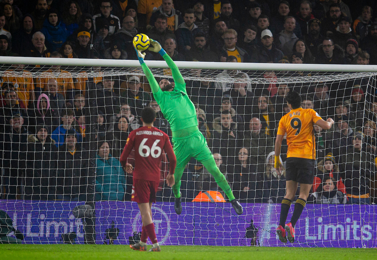 WOLVERHAMPTON, ENGLAND - Thursday, January 23, 2020: Liverpool's goalkeeper Alisson Becker during the FA Premier League match between Wolverhampton Wanderers FC and Liverpool FC at Molineux Stadium. (Pic by David Rawcliffe/Propaganda)