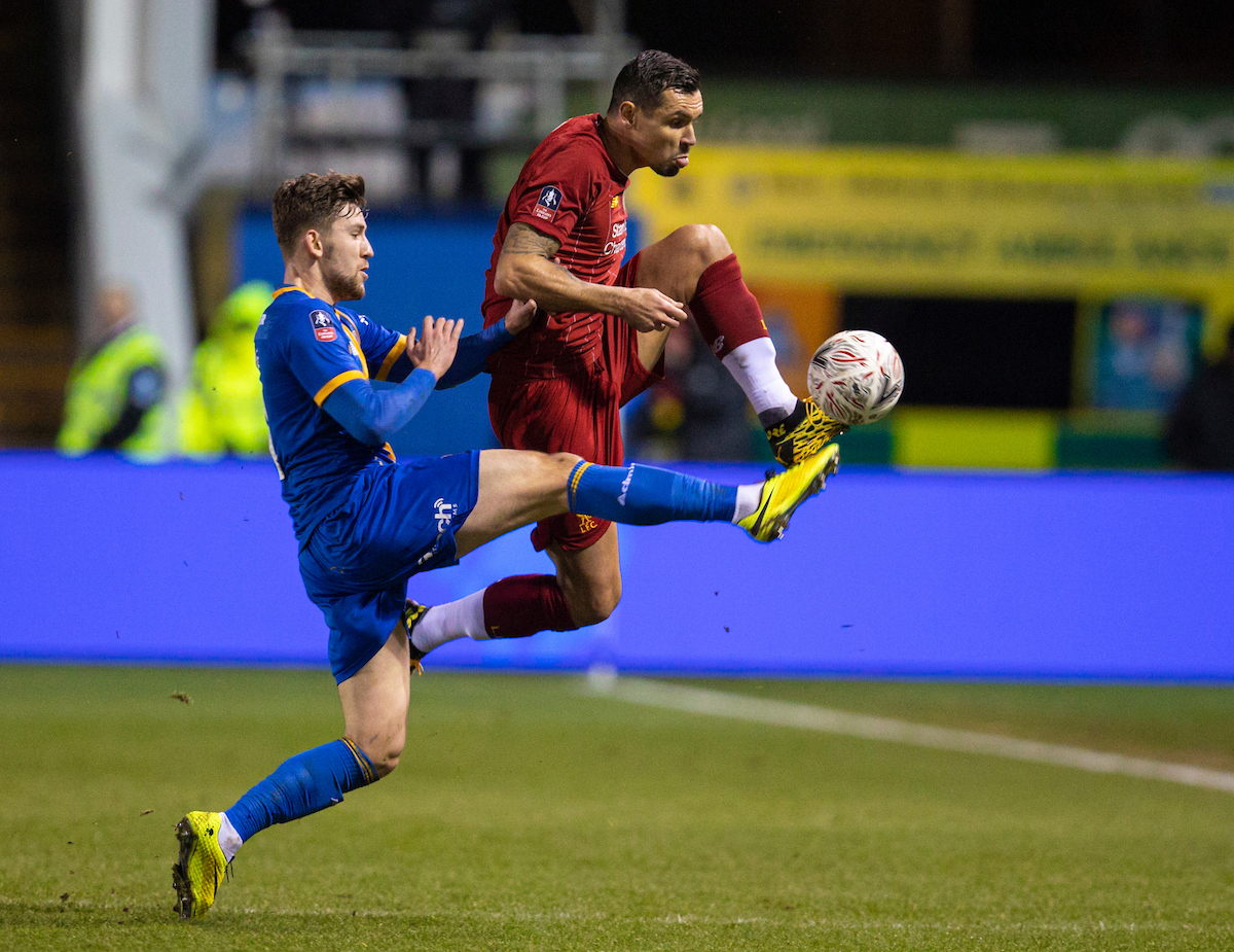 SHREWSBURY, ENGLAND - Sunday, January 26, 2020: Liverpool's Dejan Lovren (R) and Shrewsbury Town's Callum Lang during the FA Cup 4th Round match between Shrewsbury Town FC and Liverpool FC at the New Meadow. (Pic by David Rawcliffe/Propaganda)