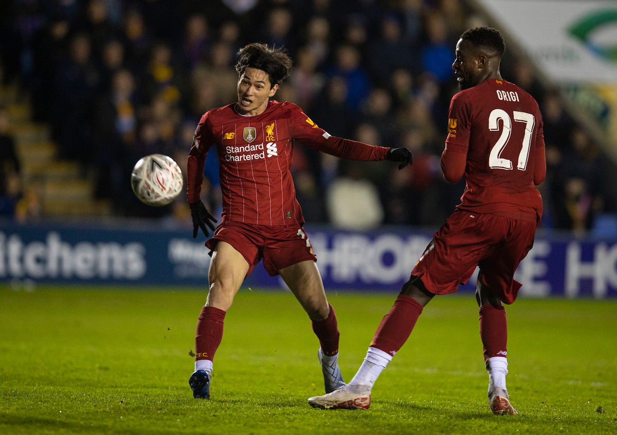 SHREWSBURY, ENGLAND - Sunday, January 26, 2020: Liverpool's Takumi Minamino sees his shot go over the bar during the FA Cup 4th Round match between Shrewsbury Town FC and Liverpool FC at the New Meadow. (Pic by David Rawcliffe/Propaganda)