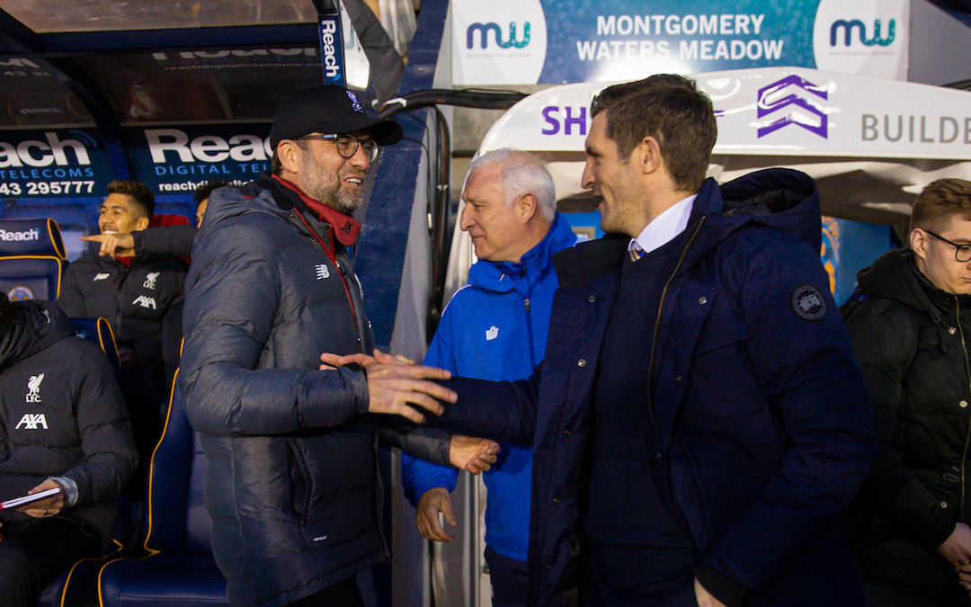 SHREWSBURY, ENGLAND - Sunday, January 26, 2020: Liverpool's manager Jürgen Klopp (L) and Shrewsbury Town's manager Sam Ricketts shake hands before the FA Cup 4th Round match between Shrewsbury Town FC and Liverpool FC at the New Meadow. (Pic by David Rawcliffe/Propaganda)