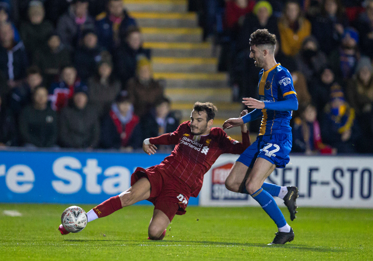 SHREWSBURY, ENGLAND - Sunday, January 26, 2020: Liverpool's Pedro Chirivella during the FA Cup 4th Round match between Shrewsbury Town FC and Liverpool FC at the New Meadow. (Pic by David Rawcliffe/Propaganda)