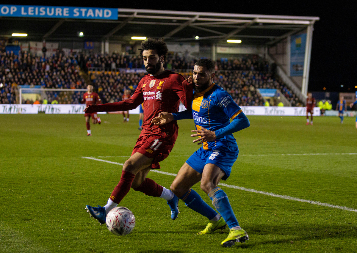 SHREWSBURY, ENGLAND - Sunday, January 26, 2020: Liverpool's Mohamed Salah during the FA Cup 4th Round match between Shrewsbury Town FC and Liverpool FC at the New Meadow. (Pic by David Rawcliffe/Propaganda)