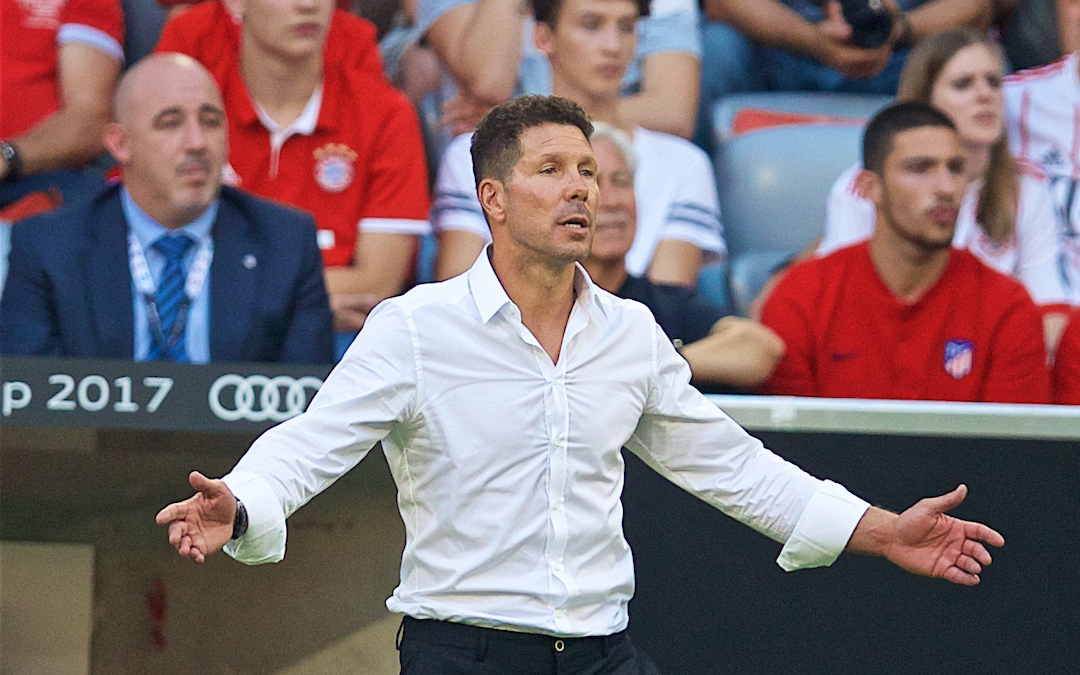 MUNICH, GERMANY - Tuesday, August 1, 2017: Atlético de Madrid's head coach Diego Simeone during the Audi Cup 2017 match between Club S.S.C. Napoli and Atlético de Madrid at the Allianz Arena. (Pic by David Rawcliffe/Propaganda)