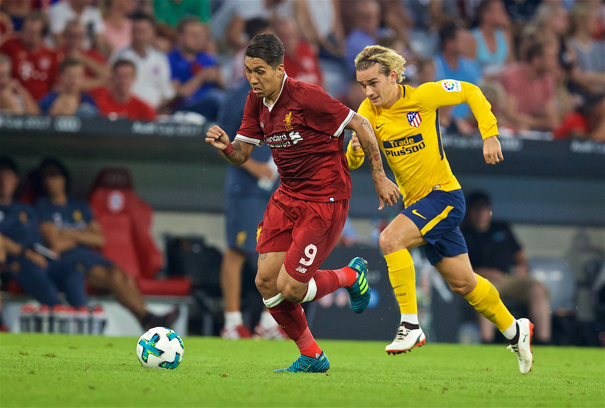 MUNICH, GERMANY - Wednesday, August 2, 2017: Liverpool's Roberto Firmino during the Audi Cup 2017 final match between Liverpool FC and Atlético de Madrid's at the Allianz Arena. (Pic by David Rawcliffe/Propaganda)
