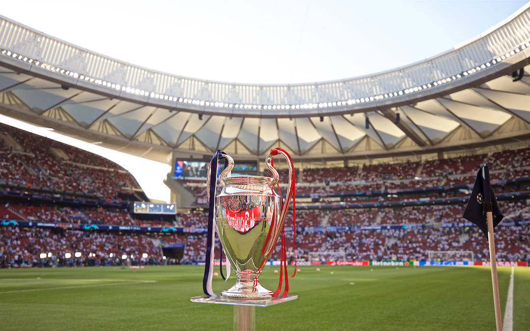The European Cup trophy on display before the UEFA Champions League Final match between Tottenham Hotspur FC and Liverpool FC at the Estadio Metropolitano