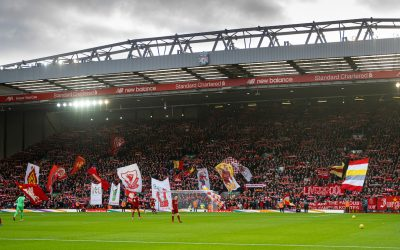 February 1, 2020: Liverpool supporters on the Spion Kop before the FA Premier League match between Liverpool FC and Southampton FC at Anfield.