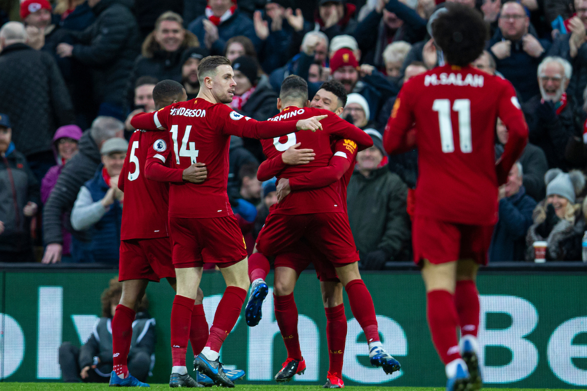 LIVERPOOL, ENGLAND - Saturday, February 1, 2020: Liverpool's Alex Oxlade-Chamberlain (R) celebrates scoring the first goal with team-mate Roberto Firmino during the FA Premier League match between Liverpool FC and Southampton FC at Anfield. (Pic by David Rawcliffe/Propaganda)