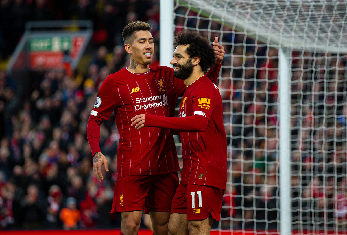 LIVERPOOL, ENGLAND - Saturday, February 1, 2020: Liverpool's Mohamed Salah (R) celebrates scoring the third goal with team-mate Roberto Firmino during the FA Premier League match between Liverpool FC and Southampton FC at Anfield. (Pic by David Rawcliffe/Propaganda)