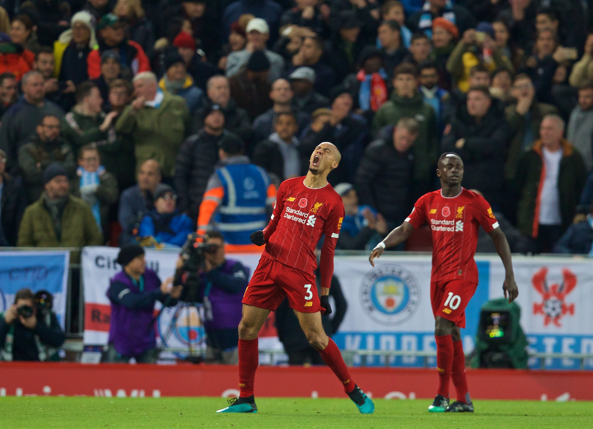LIVERPOOL, ENGLAND - Sunday, November 10, 2019: Liverpool's Fabio Henrique Tavares 'Fabinho' celebrates scoring the first goal during the FA Premier League match between Liverpool FC and Manchester City FC at Anfield. (Pic by David Rawcliffe/Propaganda)