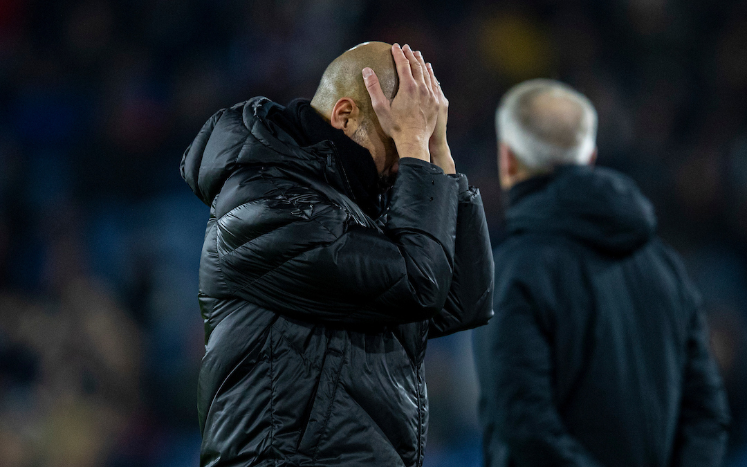 BURNLEY, ENGLAND - Tuesday, December 3, 2019: Manchester City's manager Pep Guardiola looks dejected during the FA Premier League match between Burnley FC and Manchester City FC at Turf Moor. (Pic by David Rawcliffe/Propaganda)
