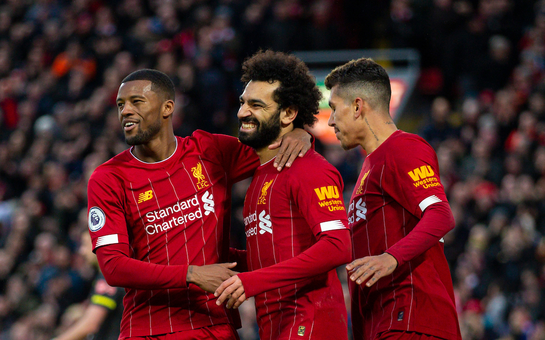LIVERPOOL, ENGLAND - Saturday, February 1, 2020: Liverpool's Mohamed Salah (C) celebrates scoring the third goal with team-mates Georginio Wijnaldum (L) and Roberto Firmino (R) during the FA Premier League match between Liverpool FC and Southampton FC at Anfield. (Pic by David Rawcliffe/Propaganda)