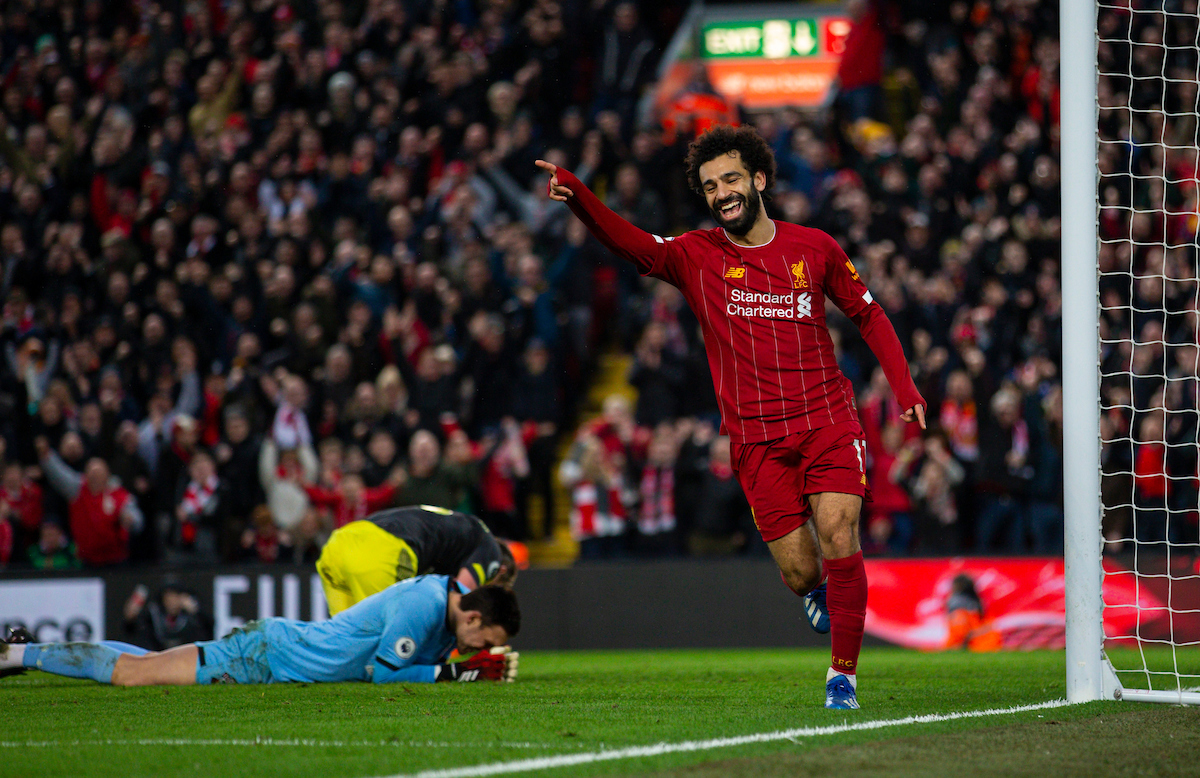 LIVERPOOL, ENGLAND - Saturday, February 1, 2020: Liverpool's Mohamed Salah celebrates scoring the fourth goal during the FA Premier League match between Liverpool FC and Southampton FC at Anfield. (Pic by David Rawcliffe/Propaganda)