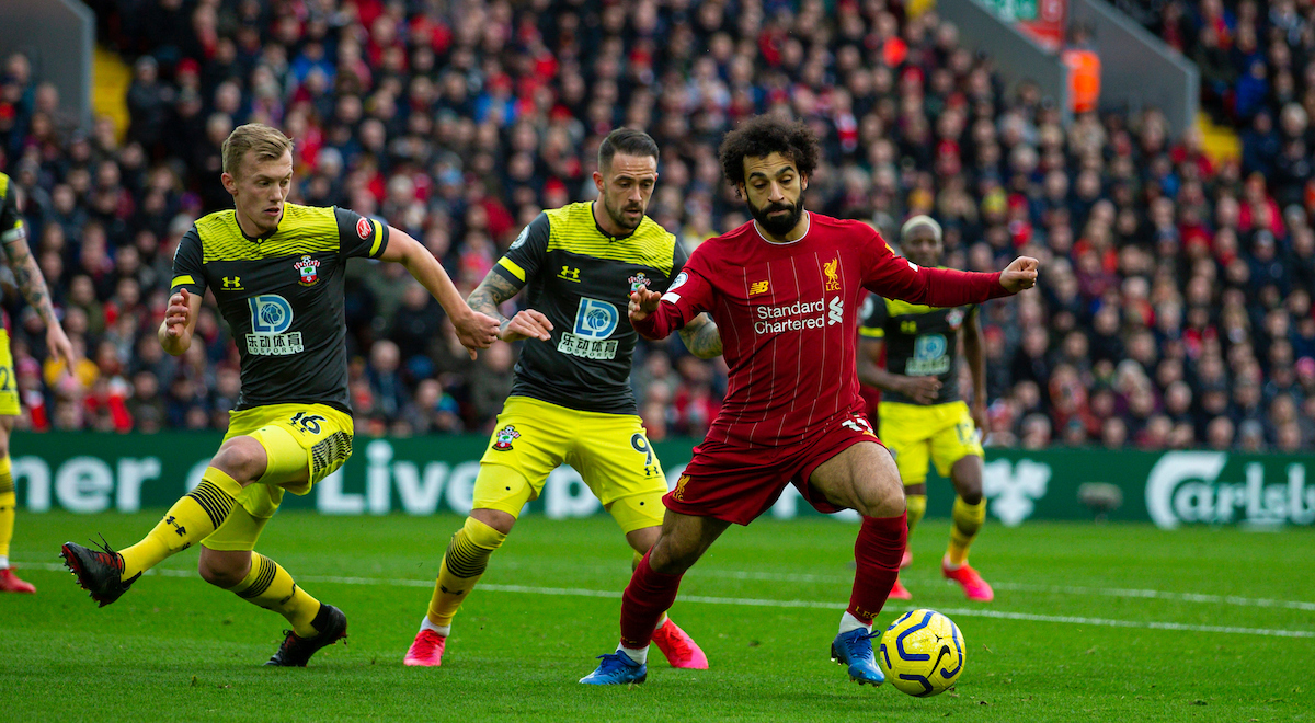 LIVERPOOL, ENGLAND - Saturday, February 1, 2020: Liverpool's Mohamed Salah during the FA Premier League match between Liverpool FC and Southampton FC at Anfield. (Pic by David Rawcliffe/Propaganda)