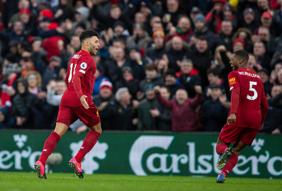 LIVERPOOL, ENGLAND - Saturday, February 1, 2020: Liverpool's Alex Oxlade-Chamberlain (L) celebrates scoring the first goal with team-mate Georginio Wijnaldum during the FA Premier League match between Liverpool FC and Southampton FC at Anfield. (Pic by David Rawcliffe/Propaganda)