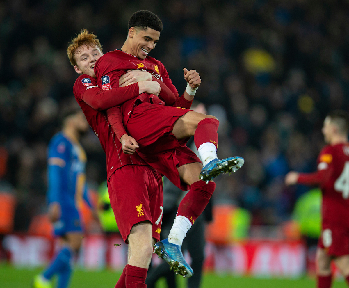 LIVERPOOL, ENGLAND - Tuesday, February 4, 2020: Liverpool's Sepp Van Den Berg (L) and Ki-Jana Hoever (R) celebtate after the FA Cup 4th Round Replay match between Liverpool FC and Shrewsbury Town at Anfield. Liverpool won 1-0. (Pic by David Rawcliffe/Propaganda)