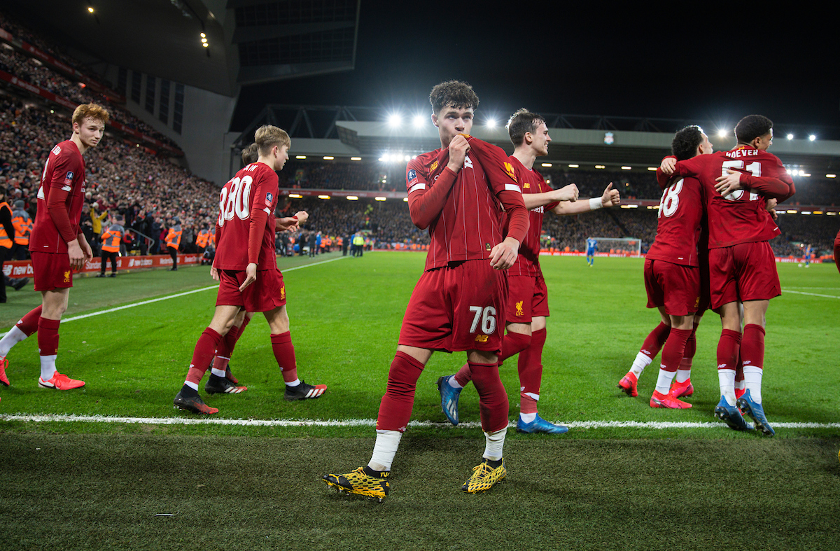 LIVERPOOL, ENGLAND - Tuesday, February 4, 2020: Liverpool's Neco Williams (C) celebrates after an own-goal by Shrewsbury Town during the FA Cup 4th Round Replay match between Liverpool FC and Shrewsbury Town at Anfield. (Pic by David Rawcliffe/Propaganda)