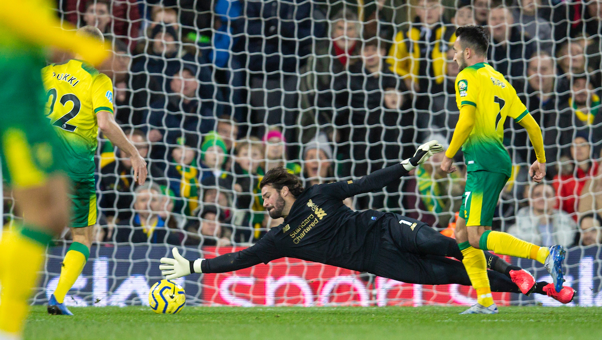 NORWICH, ENGLAND - Saturday, February 15, 2020: Liverpool's goalkeeper Alisson Becker makes a save during the FA Premier League match between Norwich City FC and Liverpool FC at Carrow Road. (Pic by David Rawcliffe/Propaganda)