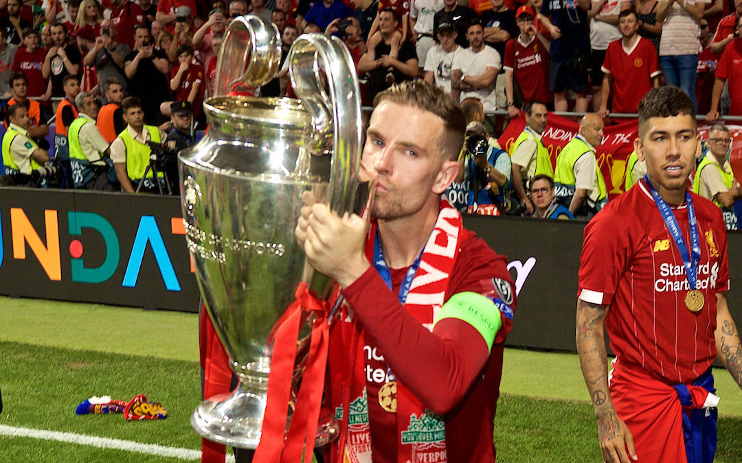 Liverpool's captain Jordan Henderson with the trophy after the UEFA Champions League Final match between Tottenham Hotspur FC and Liverpool FC at the Estadio Metropolitano