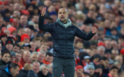 Manchester City's head coach Pep Guardiola during the FA Premier League match between Liverpool FC and Manchester City FC at Anfield