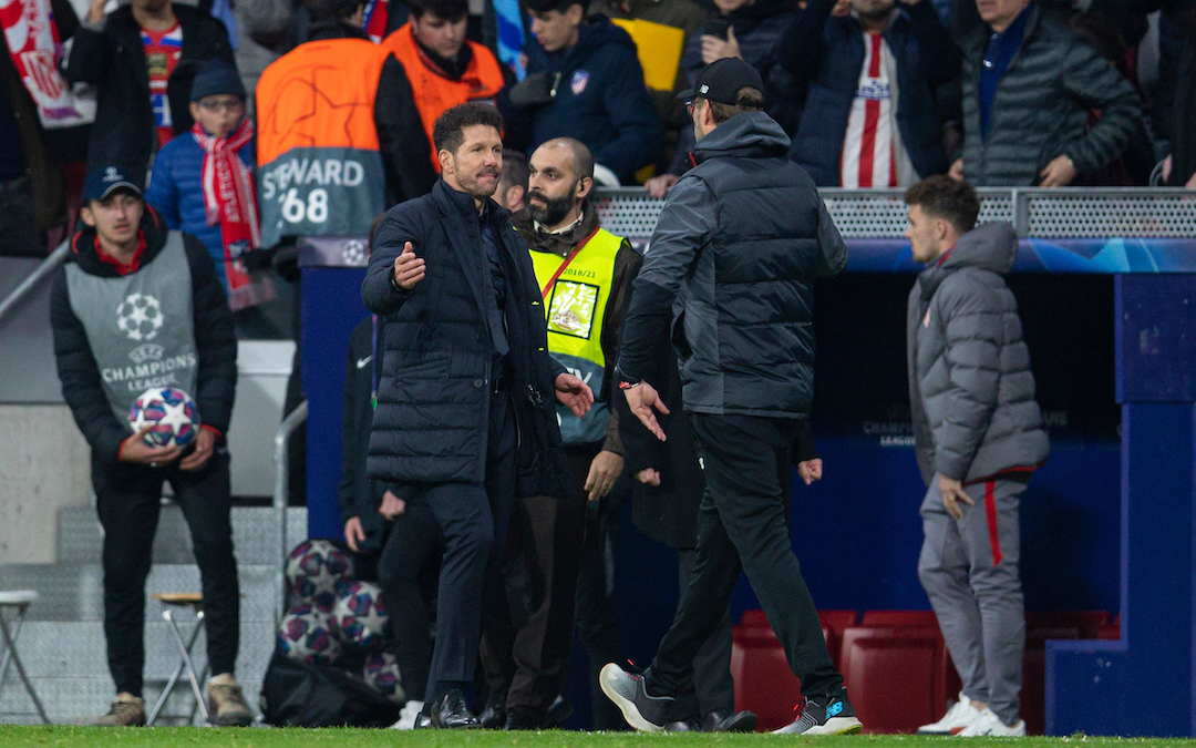 Club Atlético de Madrid's head coach Diego Simeone (L) shakes hands with Liverpool's manager Jürgen Klopp after the UEFA Champions League Round of 16 1st Leg match between Club Atlético de Madrid and Liverpool FC at the Estadio Metropolitano