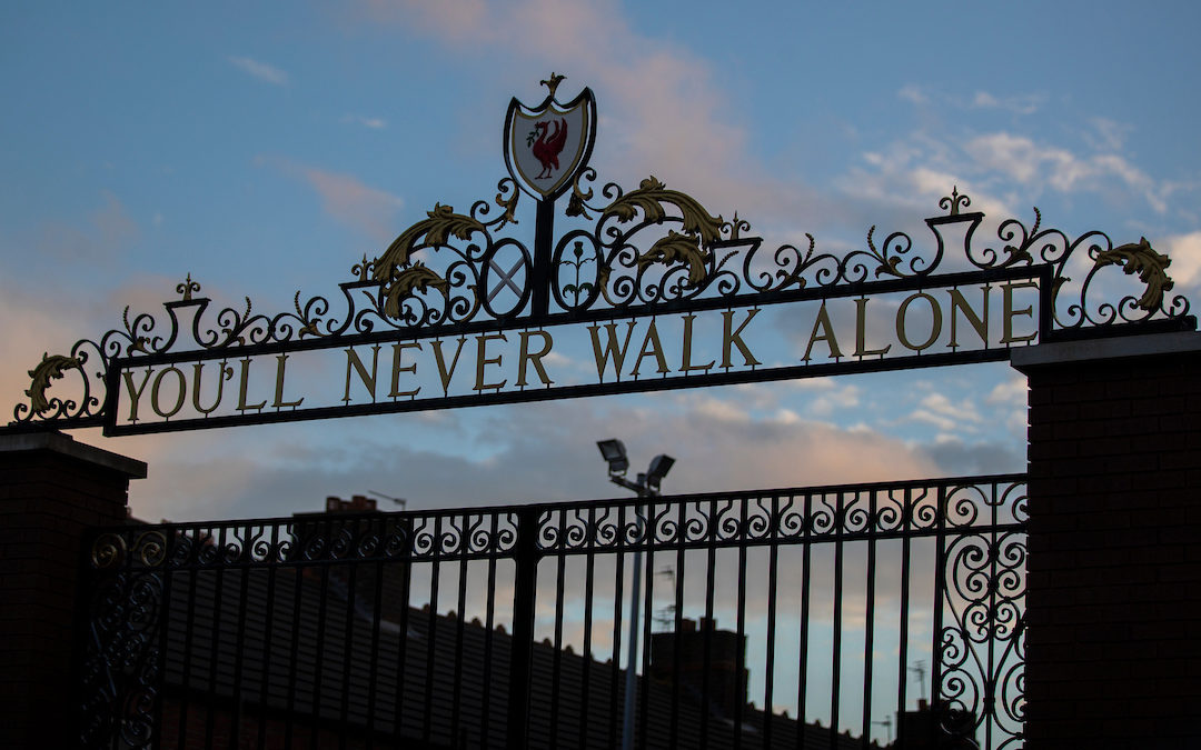 """The Shankly Gates, featuring the club's anthem """"You'll Never Walk Alone"""""""