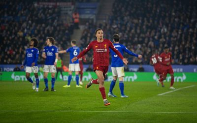 Liverpool's Trent Alexander-Arnold celebrates scoring the fourth goal during the FA Premier League match between Leicester City FC and Liverpool FC at the King Power Stadium