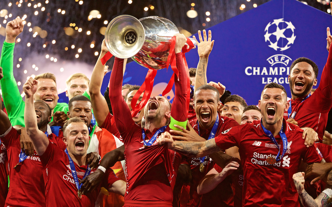 Liverpool's captain Jordan Henderson lifts the trophy after the UEFA Champions League Final match between Tottenham Hotspur FC and Liverpool FC at the Estadio Metropolitano. Liverpool won 2-0 to win their sixth European Cup