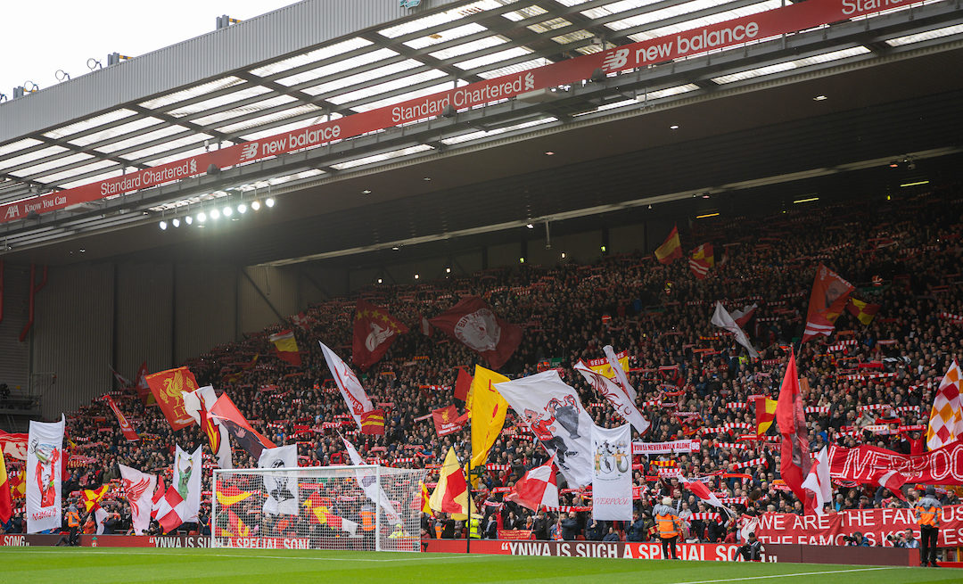 Saturday, March 7, 2020: Liverpool supporters on the Spion Kop during the FA Premier League match between Liverpool FC and AFC Bournemouth at Anfield.